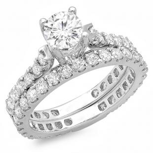 2.40 Carat (ctw) 14K White Gold Round White Diamond Ladies Engagement Bridal Ring Set