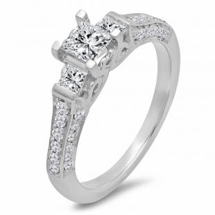 1.00 Carat (ctw) 14k White Gold Princess & Round 3 Stone Diamond Ladies Bridal Engagement Ring