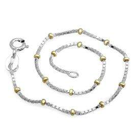Sterling Silver Box with Bead Chain Bracelet 7 inch long 1.8 mm thickness Rhodium Plated Spring Ring Clasp