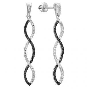0.65 Carat (ctw) 10k White Gold Black & White Round Diamond Ladies Dangles Earrings