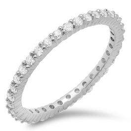 0.60 Carat (ctw) 14k White Gold Round Diamond Ladies Eternity Anniversary Stackable Ring Wedding Band