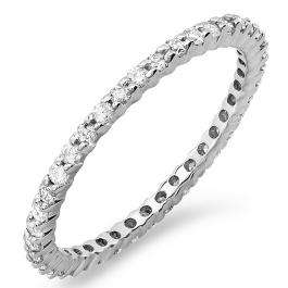 0.55 Carat (ctw) 14k White Gold Round Diamond Ladies Eternity Anniversary Stackable Ring Wedding Band