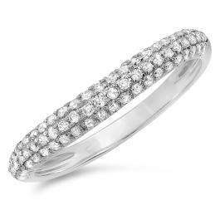 0.40 Carat (ctw) 14k White Gold Round White Diamond Ladies Curved Anniversary Matching Wedding Band Stackable Ring 2/5 CT