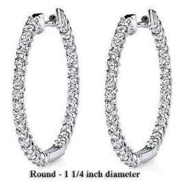 2.25 Carat (ctw) 14K White Gold Round White Diamond Fine Hoop Earring 2 1/4 CT