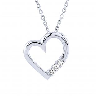 0.15 Carat (ctw) 10k White Gold 3 Stone Diamond Heart Pendant