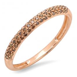 0.25 Carat (ctw) 14k Rose Gold Round Red Diamond Ladies Pave Anniversary Wedding Band Stackable Ring 1/4 CT