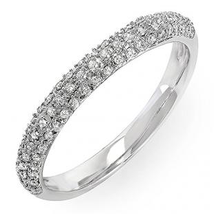 0.25 Carat (ctw) 14k White Gold Round Diamond Ladies Pave Anniversary Wedding Band Stackable Ring 1/4 CT