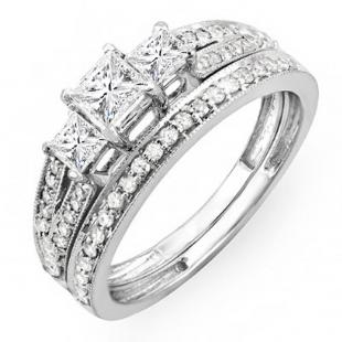 1.00 Carat (ctw) 14k White Gold Princess Cut 3 Stone Diamond Ladies Engagement Bridal Ring Set Matching Band 1 CT
