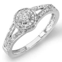0.25 Carat (ctw) Sterling Silver Round Diamond Ladies Split Shank Halo Engagement Ring 1/4 CT