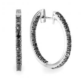 1.25 Carat (ctw) Sterling Silver Black Round Diamond Ladies Hoop Earrings 1 1/4 CT
