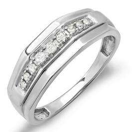 0.25 Carat (ctw) Sterling Silver Round White Real Diamond Men's Wedding Anniversary Band 1/4 CT