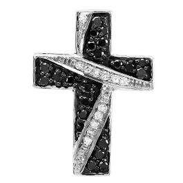 0.33 Carat (ctw) 10k White Gold Round Black and White Diamond Cross Ladies Pendant 1/3 CT