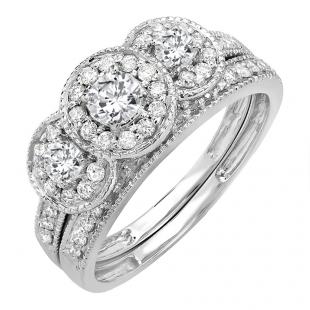 1.00 Carat (ctw) 14k White Gold Round Cut 3 Stone Diamond Ladies Engagement Ring Matching Band Set