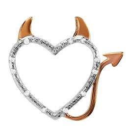 0.10 Carat (ctw) Sterling Silver Round Diamond Rose Gold Plating Devil Heart Ladies Pendant 1/10 CT