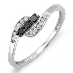 0.25 Carat (ctw) Sterling Silver Round Black & White Diamond Ladies Swirl 3 Stone Engagement Bridal Promise Ring 1/4 CT