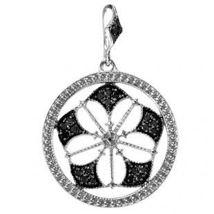 0.15 Carat (ctw) Sterling Silver Round Black Diamond Fancy Antique Look Circle Ladies Pendant