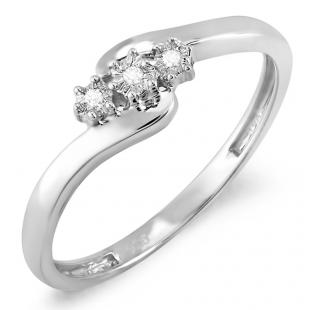 0.05 Carat (ctw) Sterling Silver Round Cut Diamond Ladies Bridal Engagement Swirl Promise Three Stone Ring 1/20 CT