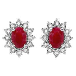1.70 Carat (ctw) Kate Middleton Diana Inspired 10K White Gold Real Round Diamond With Real Oval Red Ruby Matching Ladies Earrings