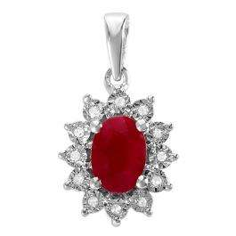 1.00 Carat (ctw) Kate Middleton Diana Inspired 10K White Gold Real Round Diamond With Real Oval Red Ruby Matching Ladies Pendant