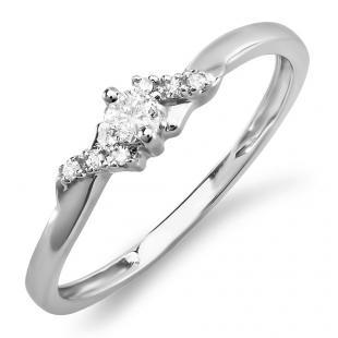 0.18 Carat (ctw) 10k White Gold Round Diamond Ladies Bridal Promise Engagement Ring