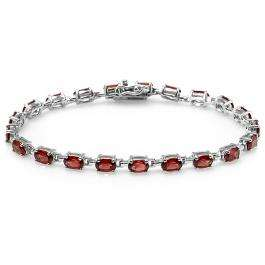 10.00 CT Real Oval Garnet Genuine 925 Sterling Silver Tennis Bracelet (8.00 Inch Length x 0.15 Inch Wide)