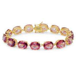 70.00 Carat (ctw) Yellow Gold Plated Sterling Silver Oval Cut Pink Mystic Topaz Ladies Tennis Bracelet