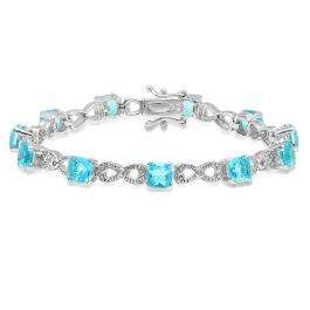 Sterling Silver Cushion Cut Doublet Quartz & Round White Sapphire Ladies Tennis Bracelet (8 Inch Length x 16.5 MM Wide)