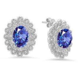 Sterling Silver Oval Cut Tanzanite & Round White Sapphire Ladies Halo Style Fashion Stud Earrings