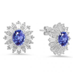 Sterling Silver Oval Cut Tanzanite, Round white sapphire & Taper Cut white topaz Ladies Snowflake Style Fashion Stud Earrings
