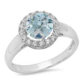 Sterling Silver Round Aquamarine & White Sapphire Ladies Halo Style Bridal Engagement Ring