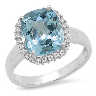 Sterling Silver Cushion Cut Aquamarine & Round White Sapphire Ladies Halo Style Bridal Engagement Ring