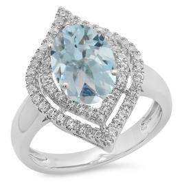 Sterling Silver Oval Cut Aquamarine & Round White Sapphire Ladies Halo Style Split Shank Bridal Engagement Ring