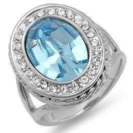Platinum Plated With Oval Light Blue & Clear Swarovski Crystals Engagement Ladies Ring (21.5 MM Width)