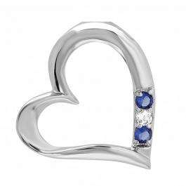 Platinum Plated Silver Tone 3 Stone White and Blue Sapphire CZ Cubic Zirconia Floating Heart Pendant 0.82 inches (0.25 CT)
