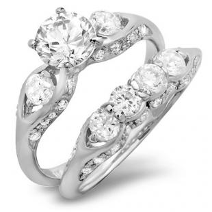 2.15 CT Platinum Plated Three stone Ladies Round cut Cubic Zirconia CZ Wedding Bridal Engagement Ring with Matching Band Set