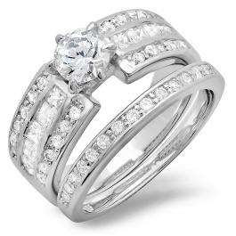 2.00 CT Platinum Plated Classic Ladies Round Princess Cubic Zirconia CZ Wedding Bridal Engagement Ring with Matching Band Set (Available in size 6 7 8)