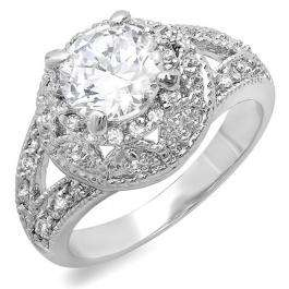 2.00 CT Classic Ladies Round Cubic Zirconia CZ Engagement Ring (Available in size 6 7 8)