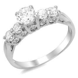 1.00 CT Platinum plated 5 Stone Ladies Round Cubic Zirconia CZ Engagement Ring (Available in size 6 7 8)