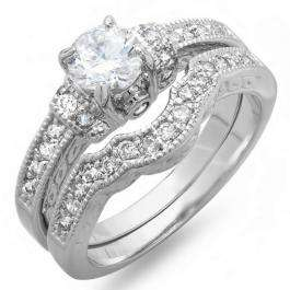2.00 CT Ladies Round Cubic Zirconia CZ Wedding Bridal Engagement Ring Set (Available in size 6 7)