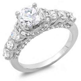 2.50 CT Platinum Plated Ladies Round Cubic Zirconia CZ Engagement Bridal Ring (Available in size 6 7 8)