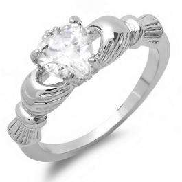 0.50 CT Platinum Plated Ladies Heart White Cubic Zirconia CZ Engagement Claddagh Promise Ring (Available in size 6 7 8)