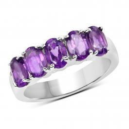 Sterling Silver Oval Cut Amethyst Ladies 5 Stone Bridal Engagement Ring