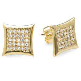 18k Yellow Gold Plated Stud Earrings 9mm Kite Shaped White Round Cubic Zirconia Pushback Post