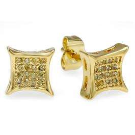 18k Yellow Gold Plated Stud Earrings 6mm Kite Shaped Yellow Round Cubic Zirconia Pushback Post