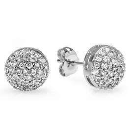 18k White Gold Plated Stud Earrings 8.5mm Round Shaped White Roud Cubic Zirconia Pushback Post