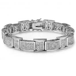 Platinum Plated Micro Pave White CZ Cubic Zirconia Iced Mens Link Bracelet (0.47 Inch Wide 8.5 Inch Long)