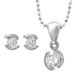 Sterling Silver Ladies Matching Bezel Set Pendant & Earrings With White CZ Cubic Zirconia Set