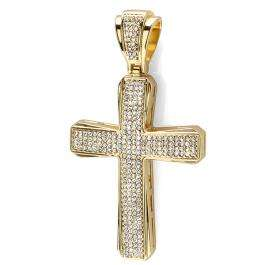 18k Yellow Gold Plated White CZ Cubic Zirconia Hip Hop Iced Micro Pave Mens Religious Cross Pendant (3.25 inch x 1.75 inch)