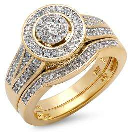 0.50 Carat (ctw) 18k Yellow Gold Plated Sterling Silver White Diamond Round Ladies Bridal Engagement Ring Set 1/2 CT