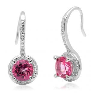 2.02 Carat (ctw) Sterling Silver Round Pink Topaz & White Diamond Ladies Halo Dangling Drop Earrings